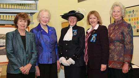 High Sheriff of Cheshire, Susan Sellers (wearing a hat), with three former High Sheriffs, Diana Barb