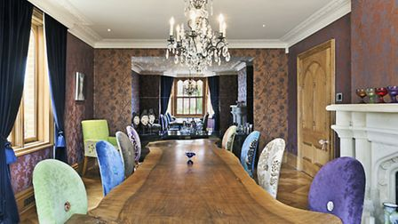 The dining room with its enormous bespoke table