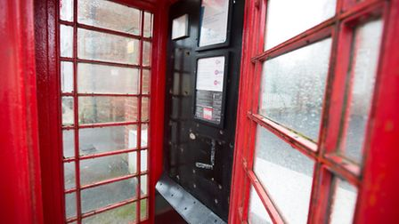 Red phone box in Wye