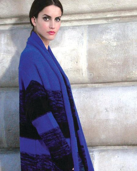 Electric blue knitted coat, Simply French