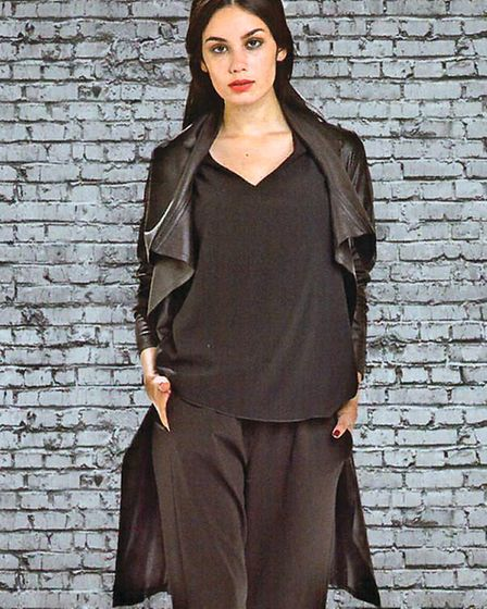Faux leather classic trench coat, Simply French