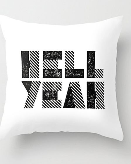Make a statement Finish off your white room in true Cheshire style&yeah baby. Printed Throw Pillow
