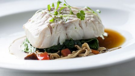 Poached cod in an Asian broth