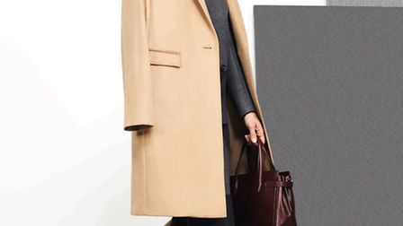 Look smart in this camel hair city coat, £999, wool colour block coat, £499, skirt, £199, cashmere c