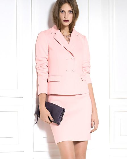 Soften up your image in this pink jacket, £335 and skirt, £115, Marc Cain