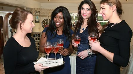 Louise Robbins serving Laurent Perrier Rose to Janet Hanson, Uma Trehan and Gianna Lisiecki-Cunane