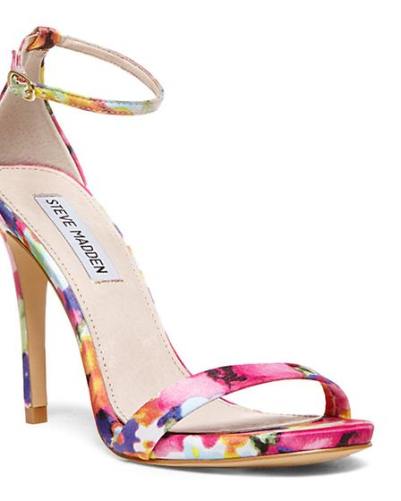 STRAP HAPPY Steve Madden, usually the king of the stripper heel, shows his more romantic side with