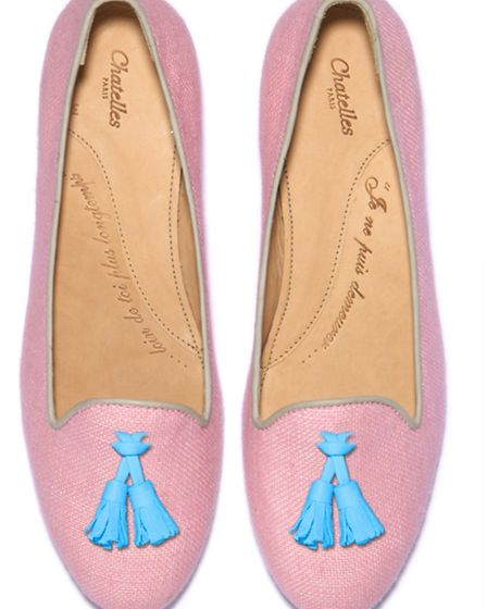 IN THE PINK Youll be tussling over these gorgeous tasselled flats, £150 from Chatelles, is you dont