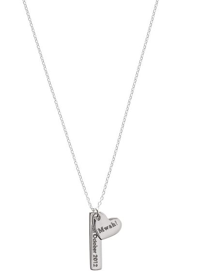 PUCKER UP This personalised necklace, £29 from Oliver Bonas, is so sweet it should come with a diab