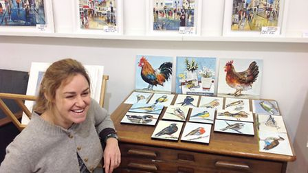 Tracey Elphick with new work in her studio