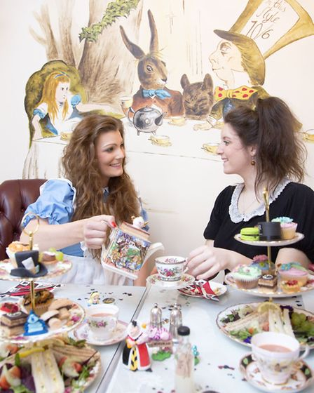 Afternoon Tea at The Alice in Wonderland Themed room at Davenports Tea Room.