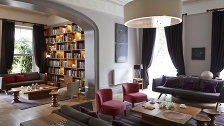 The library and lounge bar at the Montpellier Chapter hotel.