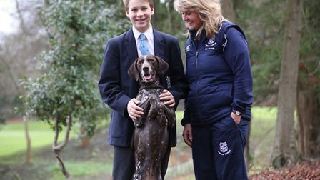Hugo Wilson and Diana Strange with Poppy at Seaford College in West Sussex