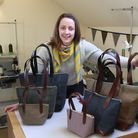 Emma Cornes and a selection of her Handbags