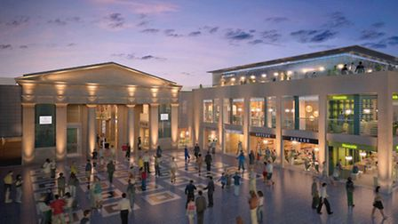 An artist's impression of the new Exeter Guildhall shopping centre dining development