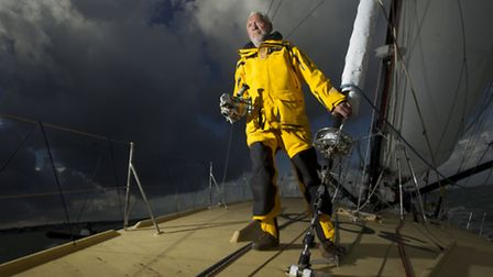 Sir Robin Knox-Johnston onboard his Open 60 yacht, Grey Power ahead of the start of the Route du Rhu