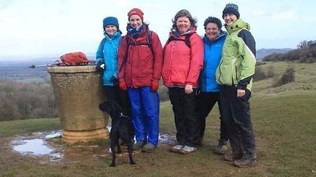 Dovers Hill with Clare, Susie, Sara, Penny and Sue Wise, with Saffy the Labrador