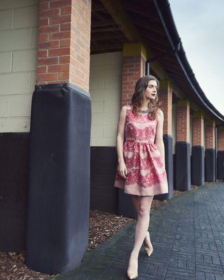 Dress, Red Valentino @ Flannels, Liverpool ONE, £640; shoes, Dune, Liverpool ONE, £75; necklace, Mawi @ Cadenzza...