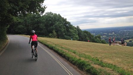 Journalist and keen cyclist Adele Mitchell tackles the iconic climb up Box Hill (Photo Paul Mitchell