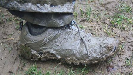 Muddy boots from the walk
