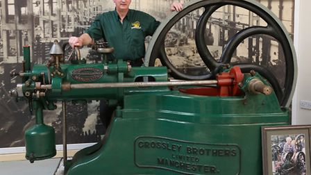 Founder, Geoff Challinor, at The Anson Engine Museum with an 1883 Gas Engine