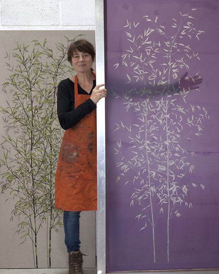 Sam with her bamboo wall panels at the Devon Guild of Craftsmen