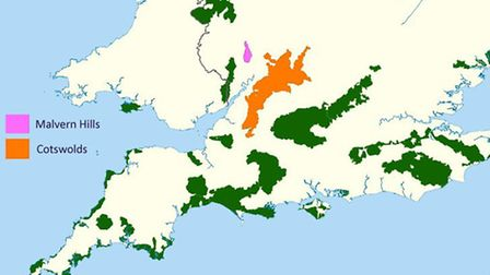 A map showing Areas of Natural Beauty in England, with the soon-to-be unified Cotswold and Malvern r