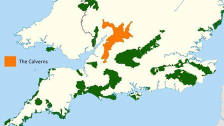 A map showing Areas of Natural Beauty in England, with the newly established Calverns region highlig