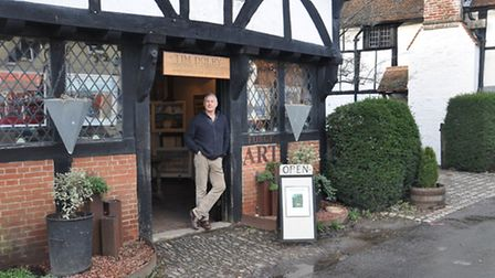Tim Dolby outside the studio at the Old Barn in Shere