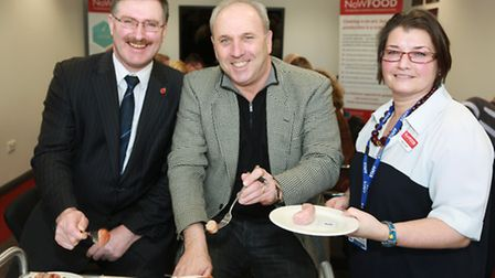 Stephen Wundke (centre) with Cheshire West and Chester Council Leader, Mike Jones and Maud Duthie, C