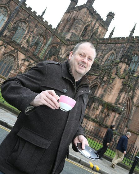 Steve Roberts of Beatons Tearooms Chester in front of Chester Cathedral