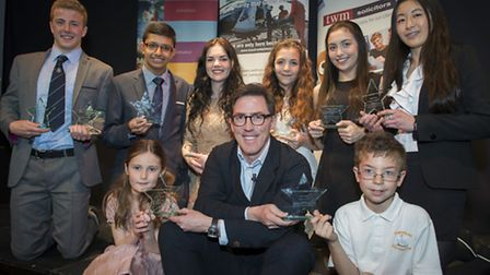 Rob Brydon at the 2013 awards with all the Surrey Young Superstars