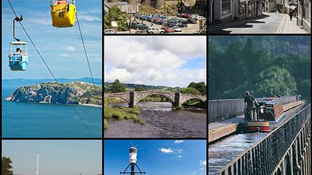 Cable cars going up the Great Orme at Llandudno; Conwy Castle; Clywd Street, Ruthin; Y Bont Fawr - L