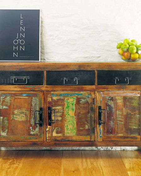 Vintage style furniture with modern accessories creates the perfect balance