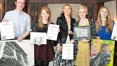 Editor Louise Allen-Taylor, centre, with, from left: 2014 winners Harry Pickup and Charlotte Oxenham