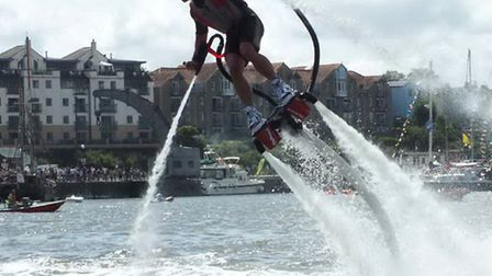 One lucky raffle winner each day will have the opportunity to don a water jetpack and hover over the