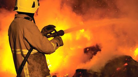 A Sussex fireman in action