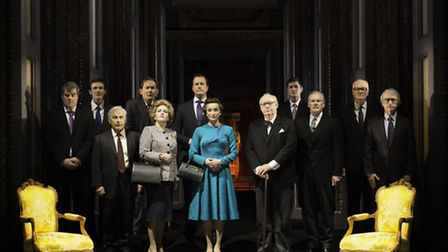 The Queen (Kristin Scott Thomas) with prime ministers in The Audience. Photo: Johan Persson