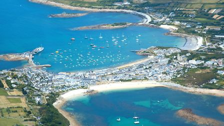 The magical blue waters of the harbour at Hugh Town, St Mary's