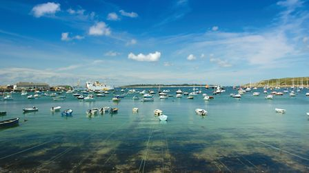 The Scillonian makes its stately way into the harbour at Hugh Town, St Mary's