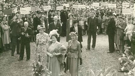 The Queen Mother at a Herts WI county rally at Knebworth House in 1949