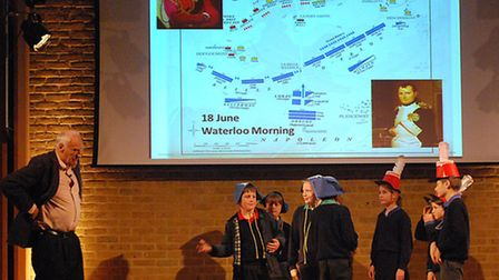 Peter Snow re-enacts the Battle of Waterloo with some willing volunteers from schools including Well
