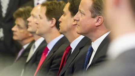 David Cameron, Nick Clegg and Ed Miliband by UK Parliament under CC BY-NC-ND 2.0 licence (https://cr