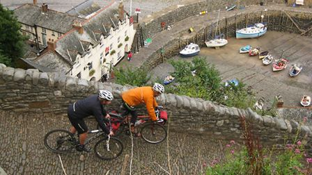 Cyclists descending the steep slope