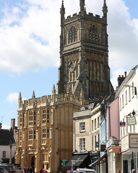 The medieval and stunning Church of St John the Baptist dominates the town view