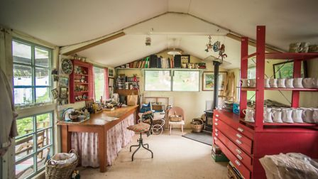 Anna's Studio: a boatshed in the garden. 'It was a boat shed we bought from Newton Abbot, kind of fl