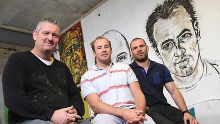 Artist Russell Haines with James Simpson Daniel and Andy Hazel