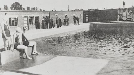 Opening day of Nantwich Outdoor Brine Swimming Pool, July 1 1935
