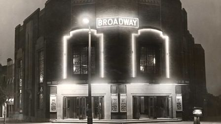 The Broadway Cinema lit by neon in 1936
