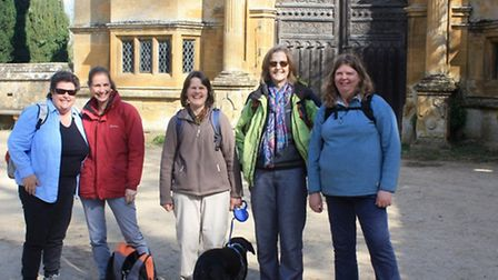 Stanway Gatehouse; Penny, Susie, Clare, Sue (me), Sara and of course Saffy, Clare's black labrador